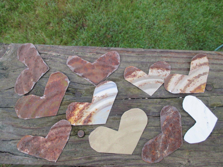 Rusty tin craft supplies - 10 Rusty Tin Small Hearts Hand Cut Tin Can Lids Natural Rust Patina Country Primitive Rustic Craft Supply Salvage Art Decor Weathered