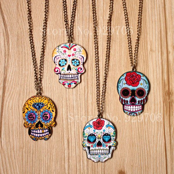 Skull Jewelry for Women Mexican Tattoo Skull Pendants Necklace Charm Women's Fashion Jewelry New Arrival Product 2014 $11.80