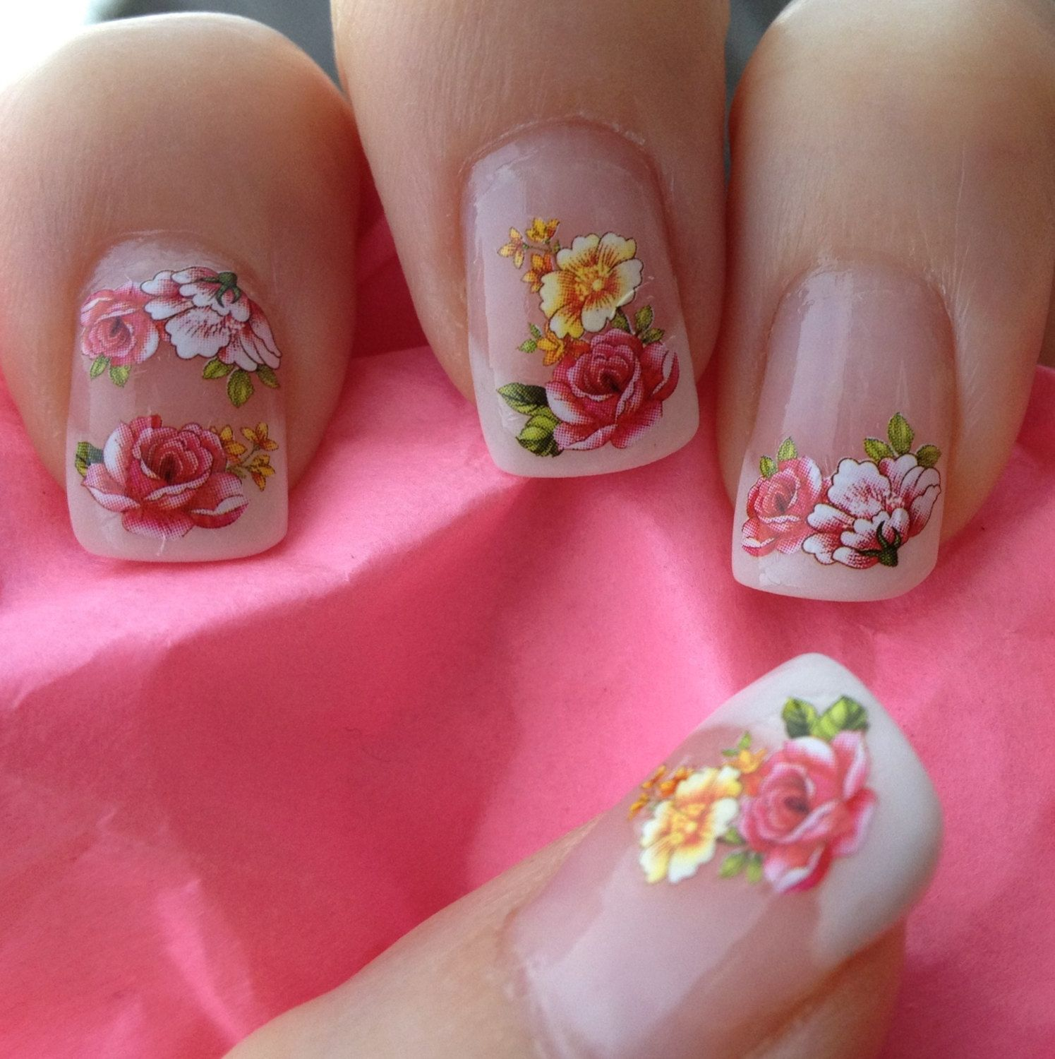 Nail WRAPS Nail Art Water Transfers Decals - French Roses Flowers ...