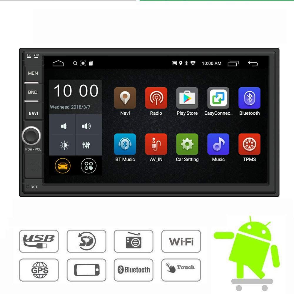 Yody Android 7 1 Double Din Car Stereo Radio 7 Inch Touch Screen In Dash Gps Navigation Support Wifi Bluetooth Double Din Car Stereo Car Stereo Gps Navigation