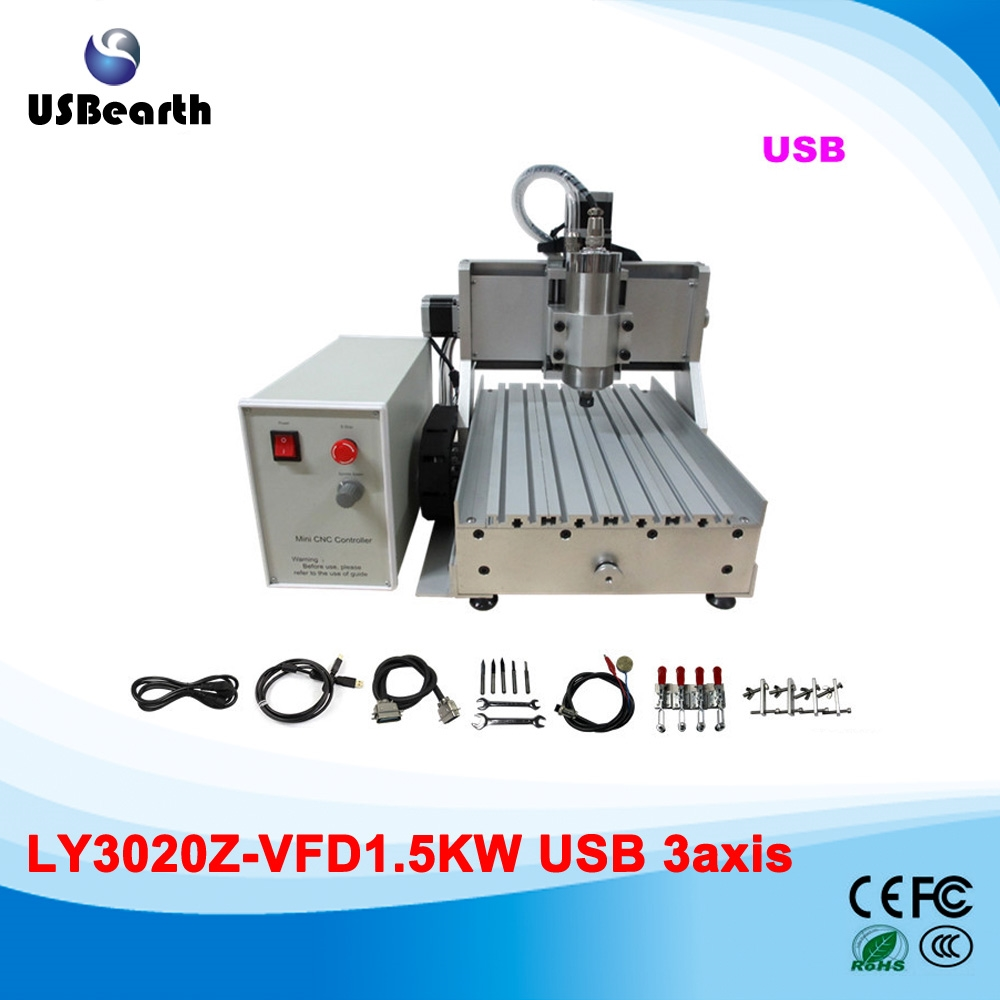 840.75$  Watch more here  - Desktop Assembled CNC 3020 Z-VFD 1.5KW USB 3axis CNC Router Machine 110V 220V