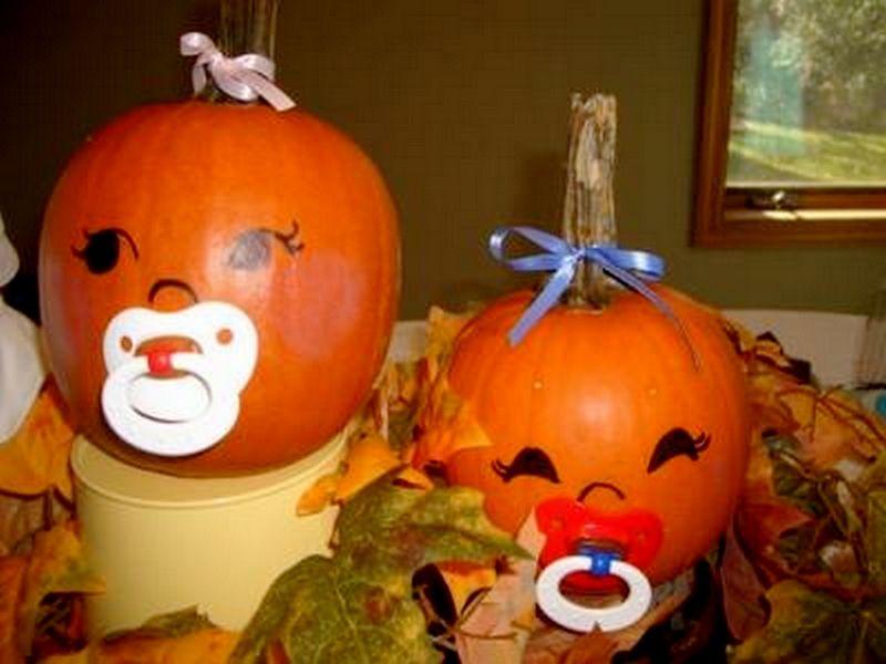 Calabazas bebe para decorar baby shower en halloween - Calabazas pintadas y decoradas ...