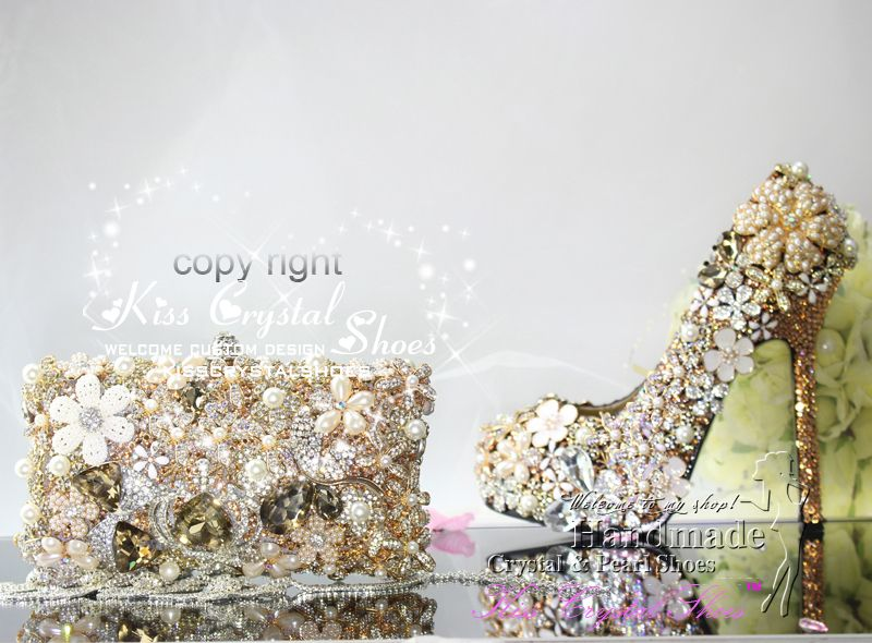 Gold Wedding Shoes New Handmade Luxury Gold Glitter Crystal Platform Pumps  Designer Shoes With Matching Clutch