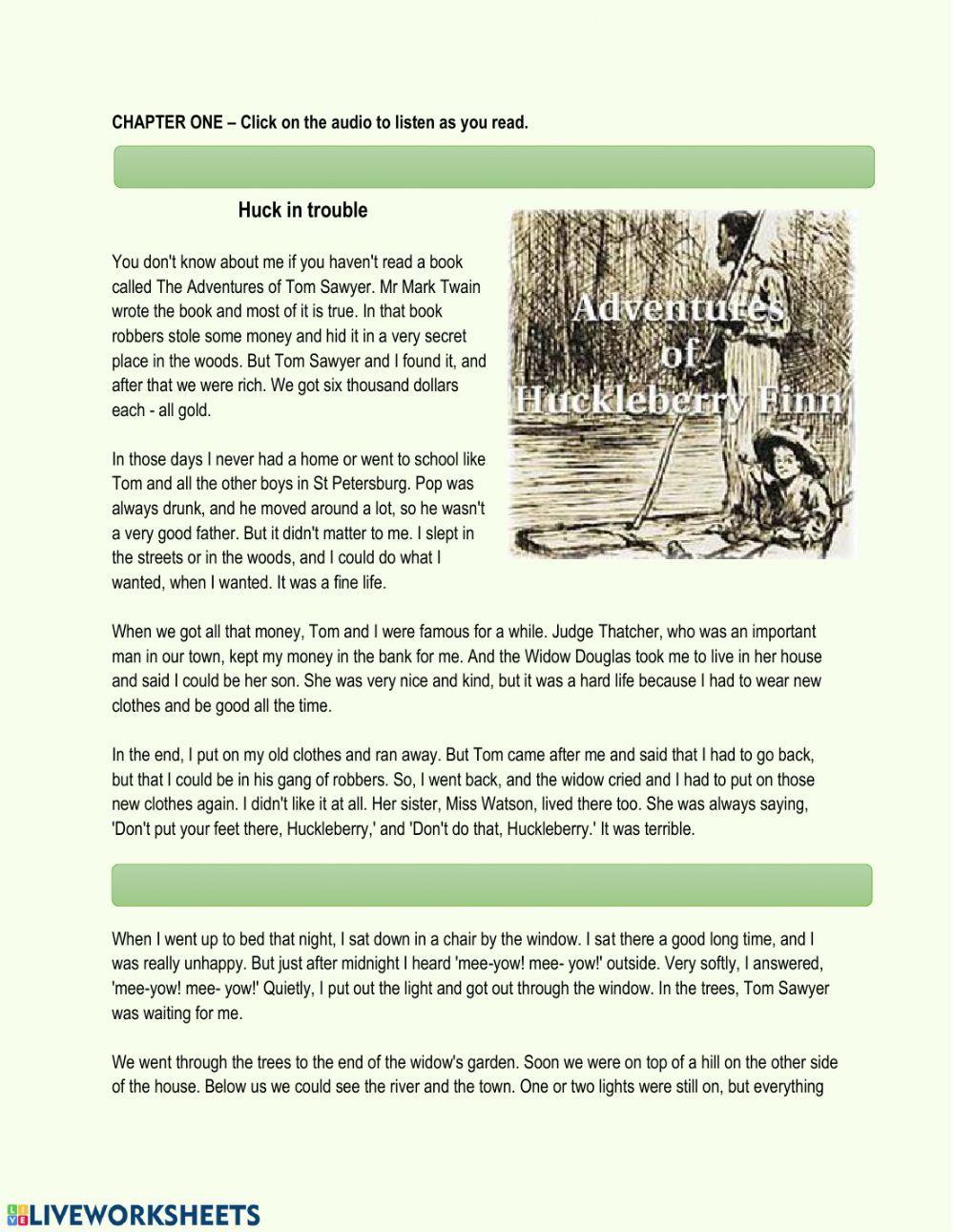 The Adventures Of Huckleberry Finn Chapter 1 Interactive Worksheet Adventures Of Huckleberry Finn Huckleberry Finn Huckleberry [ 1291 x 1000 Pixel ]