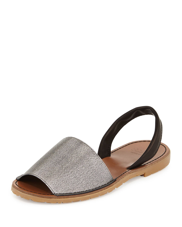 Andre Assous Menorca Elastic Slingback Sandal, Pewter