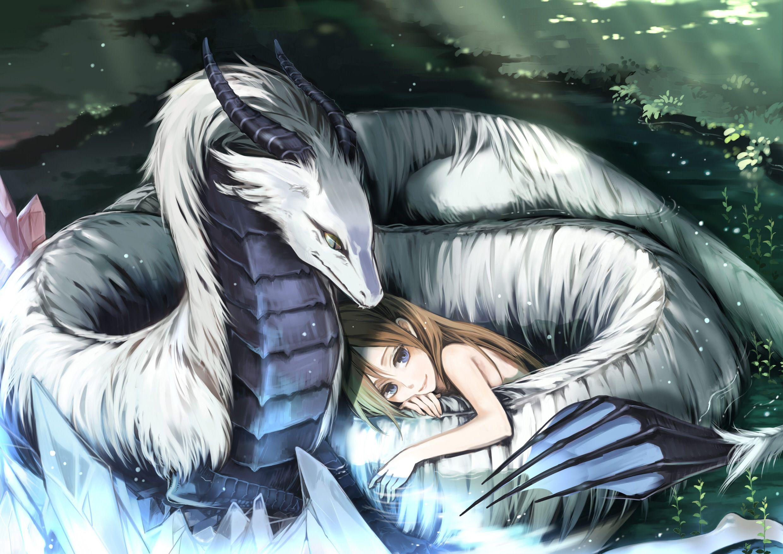 Anime girl sleeping with dragon