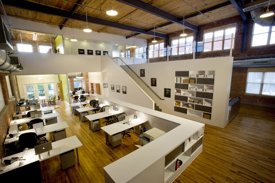 Awesome Inspiring Office Workspace Contemporary Office Interior Design With Double  Height And Wooden Floor And White Work