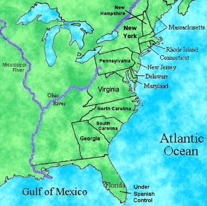 number 3 map of 13 original colonies US history scavenger
