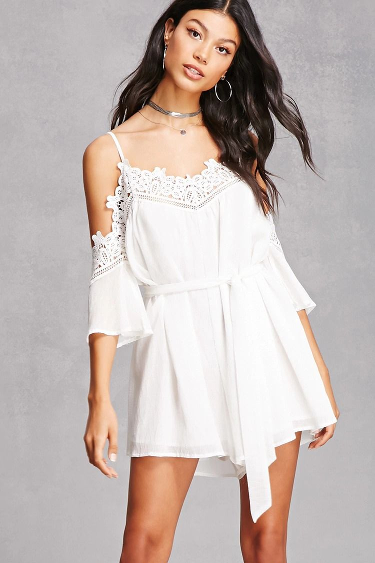 A crinkle woven romper featuring an open-shoulder design, a crochet V-neckline and sleeve trim, adjustable cami straps, 3/4 sleeves, a self-tie waist, and a relaxed fit.<p>- This is an independent brand and not a Forever 21 branded item.</p>