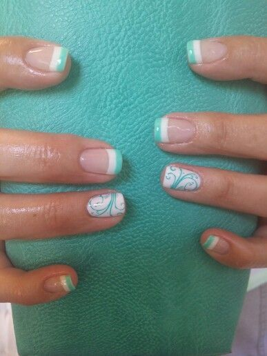 I Like The 2 Colors For The French Tips Mint Nails Mint Green Nails Finger Nail Art