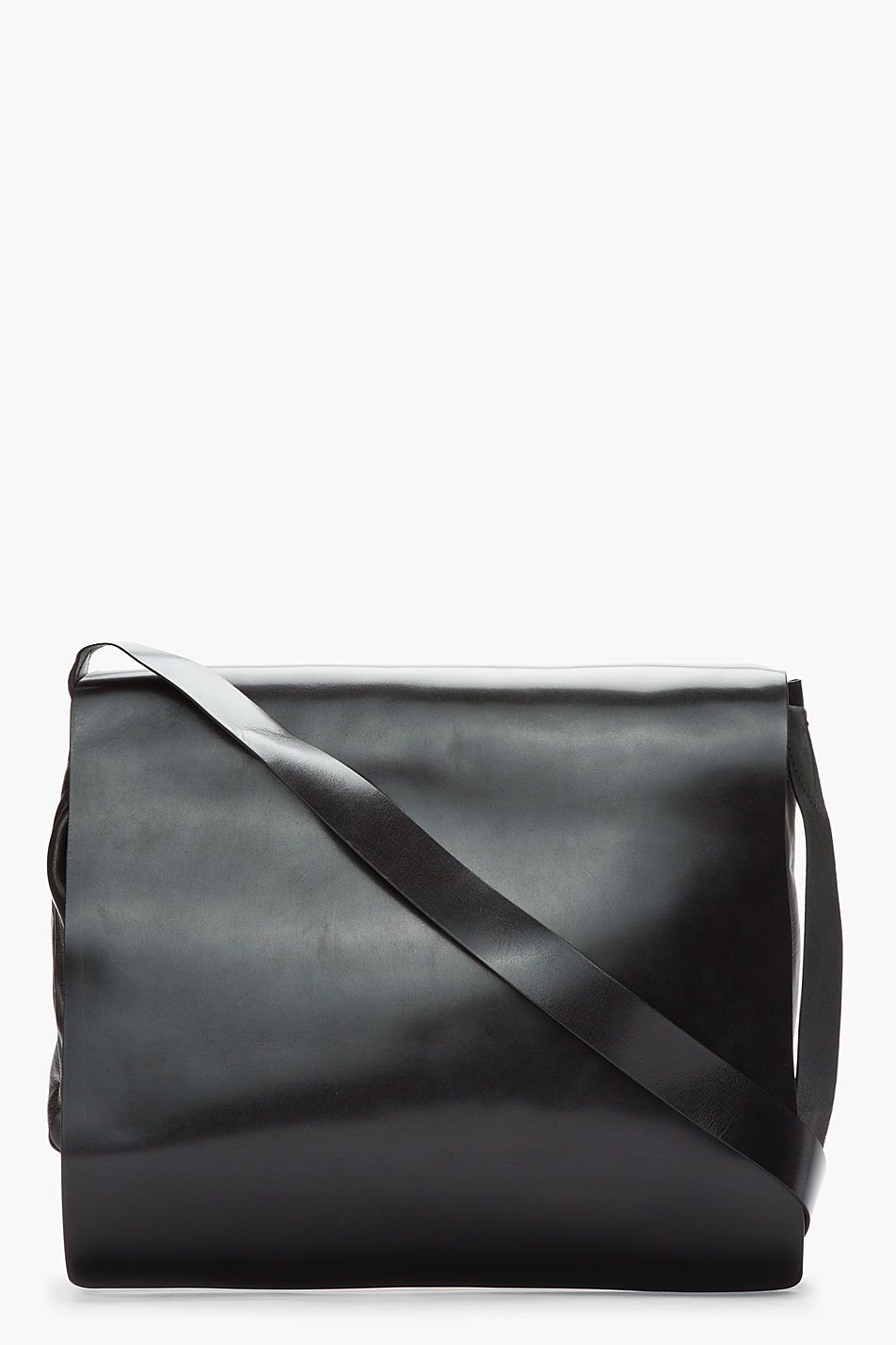 Ann Demeulemeester Black Leather Messenger Bag