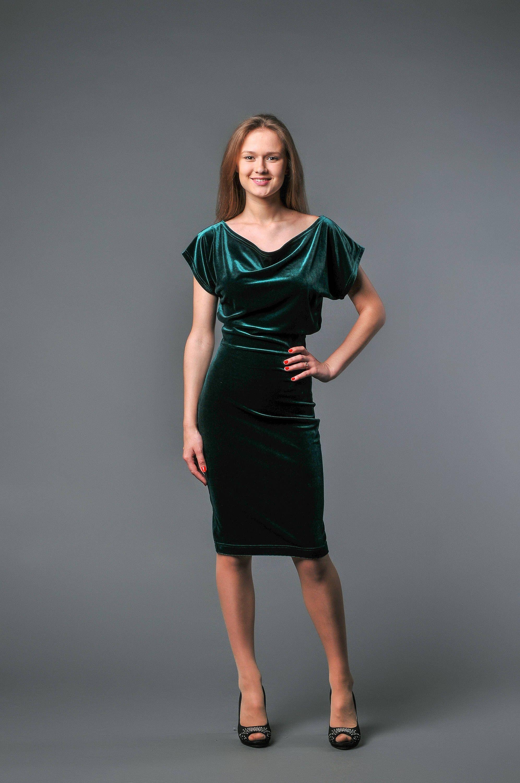 Emerald velvet dress knee length draped neck mother bride