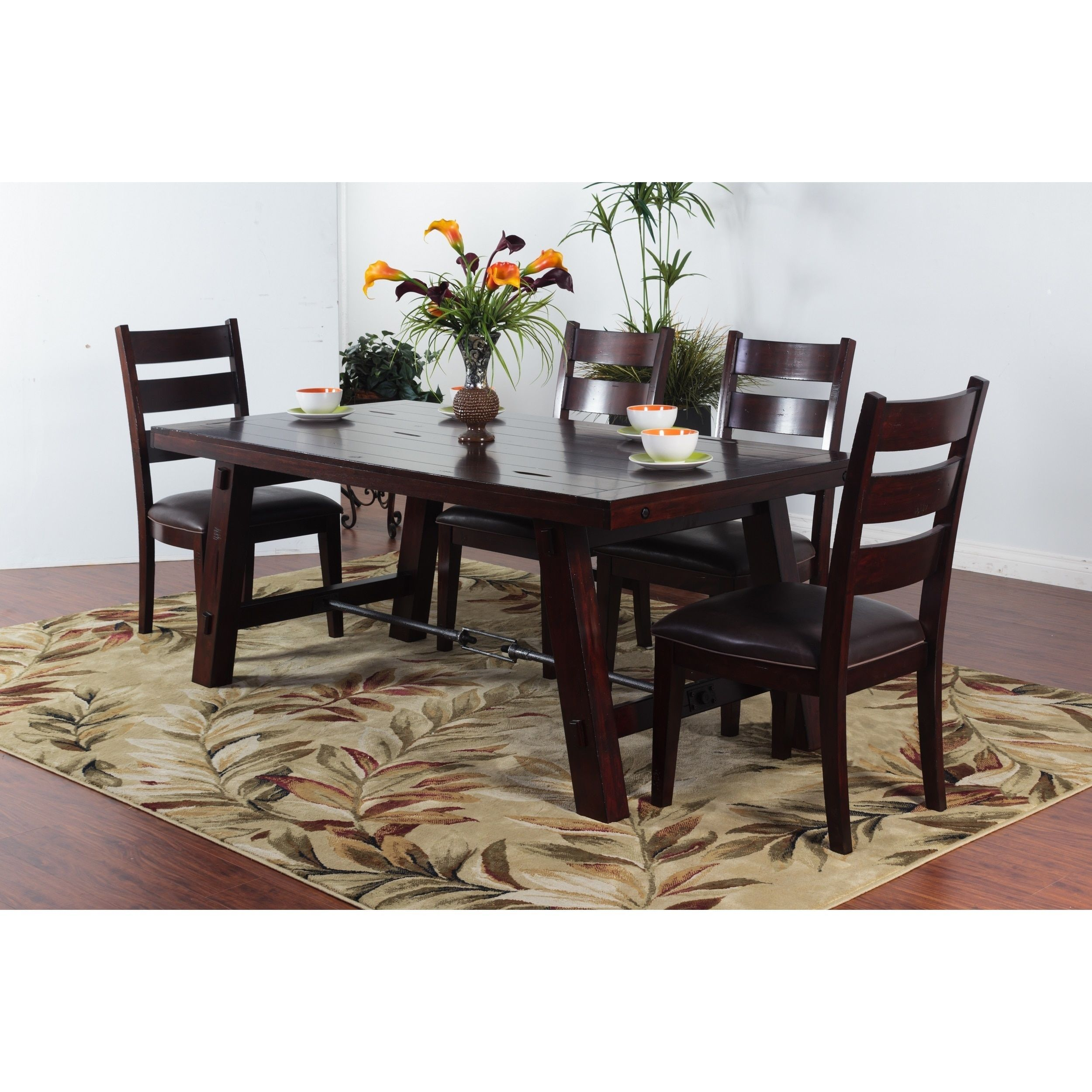 Sunny Deigns Vineyard Dining Table With Turn Buckle Rustic Mahogany Cherry Brown Dining Table Dining Table In Kitchen Table