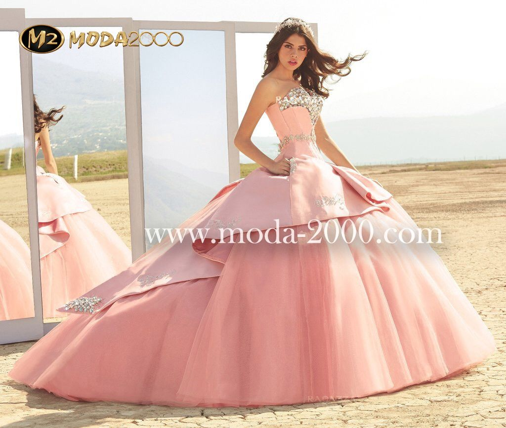 Wedding dresses under 2000  Bejeweled pink charro quinceanera dress available at Moda
