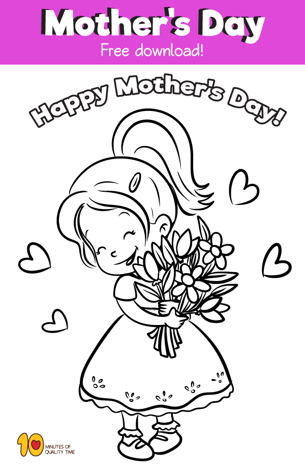 Coloring page for Mother's Day Girl Holding Flowers