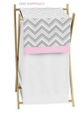 Baby Clothes Hamper Nursery Hampers Girl Pink Grey And White