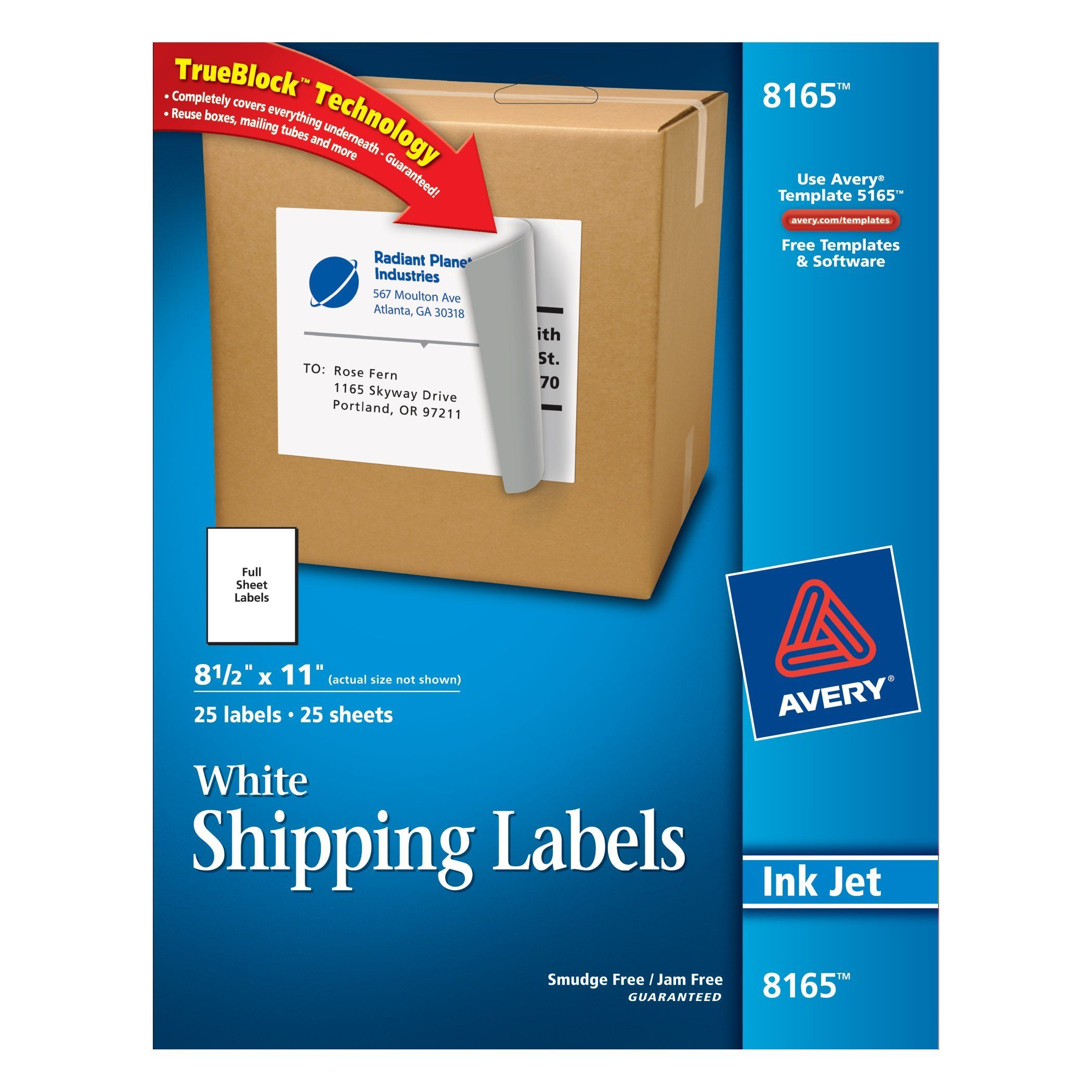 Avery® White Full-Sheet Labels for Inkjet Printers with