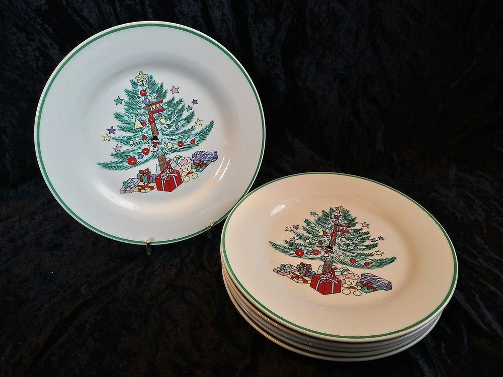 6 Gibson CHRISTMAS MEMORIES Tree Presents & Bear Dinner Plates ...