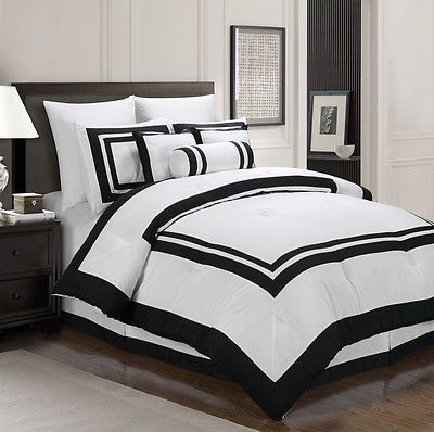 Chezmoi Collection 7 Piece White Black Hotel Style Duvet Cover Set King Size Comforter Sets Hotel Duvet Covers Hotel Comforters