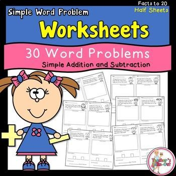 Simple Word Problem Worksheets Using Addition and Subtraction Facts ...