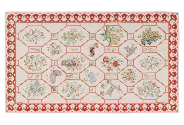5x10 Collage Needlepoint Rug, Ivory