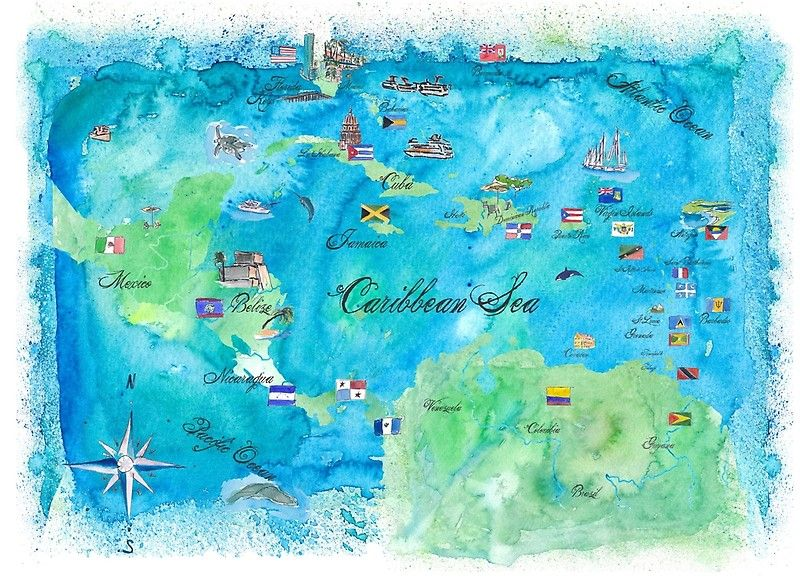 Karte Kuba.Karibik Vintage Travel Poster Karte In Aquarell Kuba