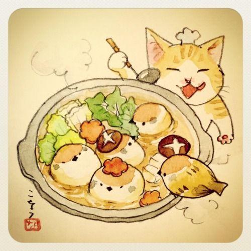Hot Pot Cat Birds キュートなスケッチ キュートなイラスト キャットアート