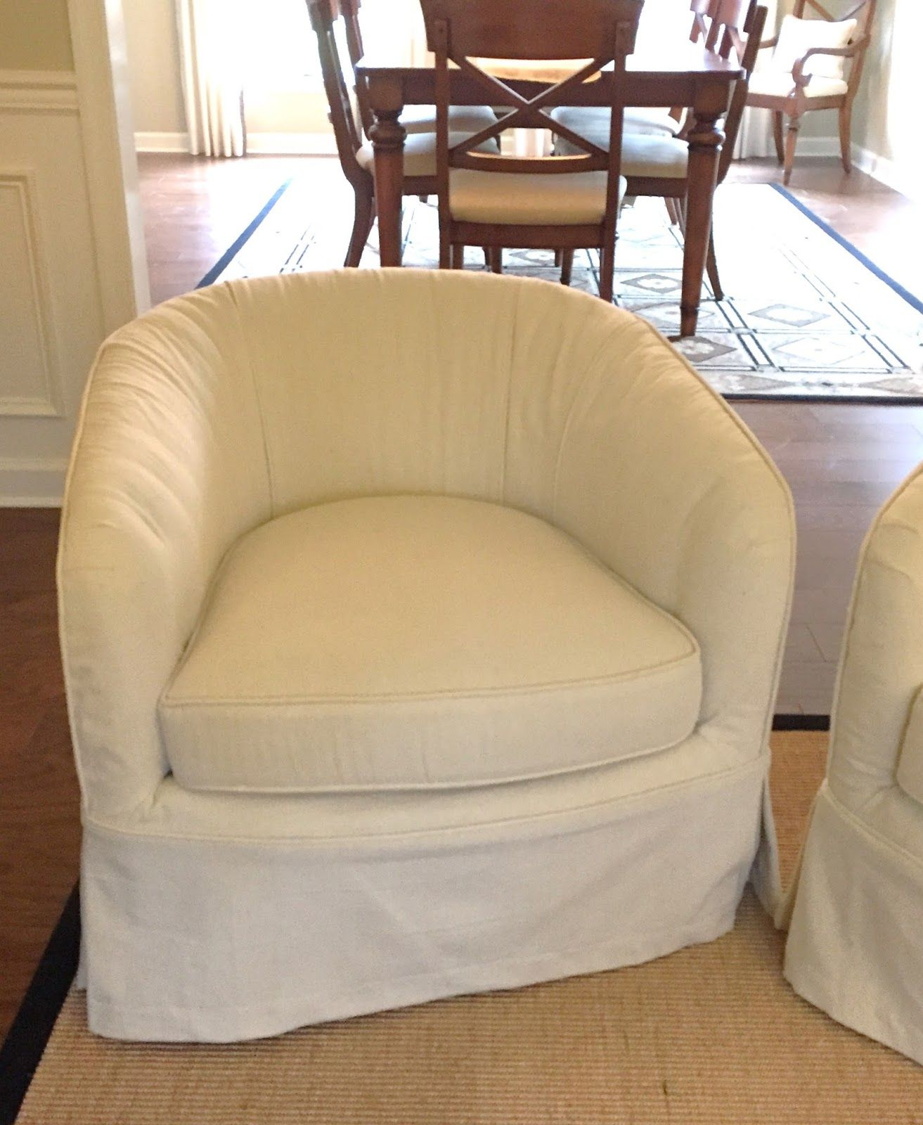 Dramatic Rescue With Drop Cloths Slipcovers For Chairs Reupholster Furniture Swivel Barrel Chair