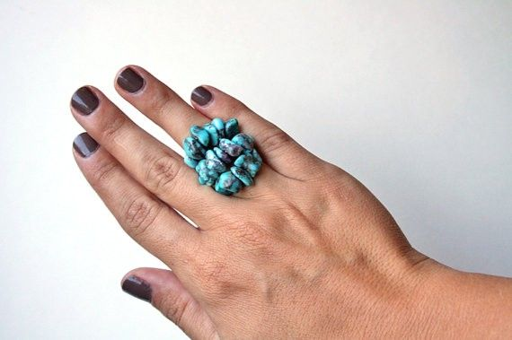 Indian Turquoise Cluster Ring