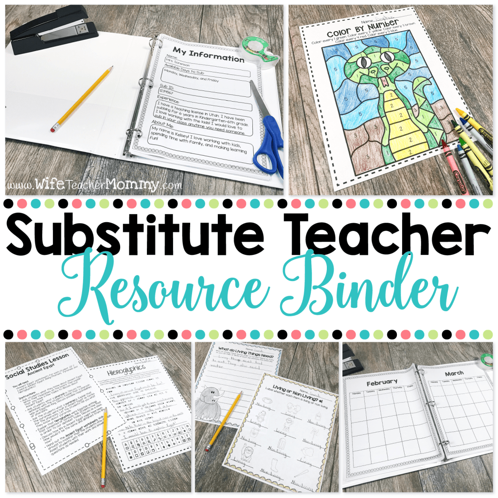 Substitute Teacher Resource Binder