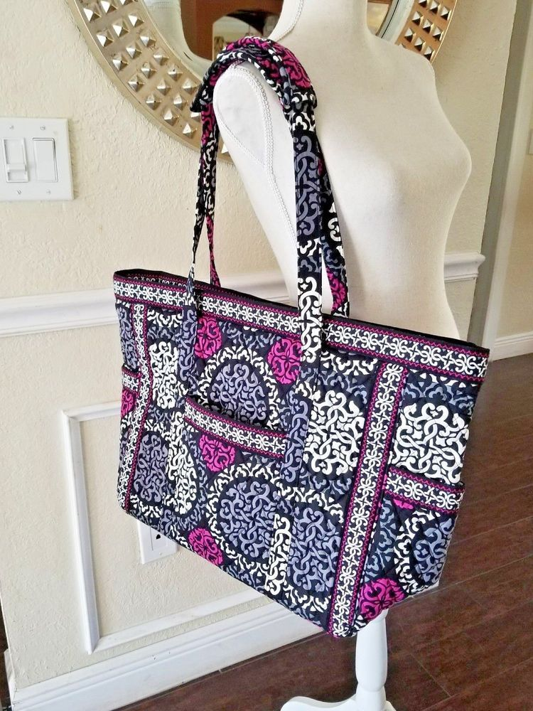 Vera Bradley Canterbury Magenta Retired Tote Bag X Large Overnight Carry On Verabradley Totebag