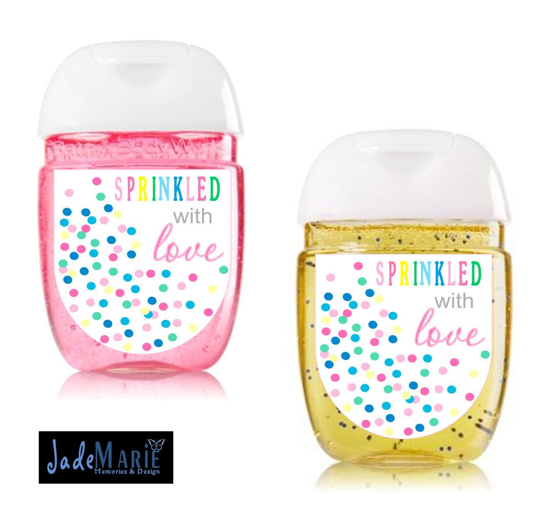 Sprinkled With Love Baby Sprinkle Hand Sanitizer Labels Favors