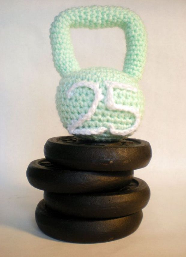 Kettlebell crocheted baby rattle. How adorable is this!! $11.95 | #gift #holiday #fitness #crossfit...