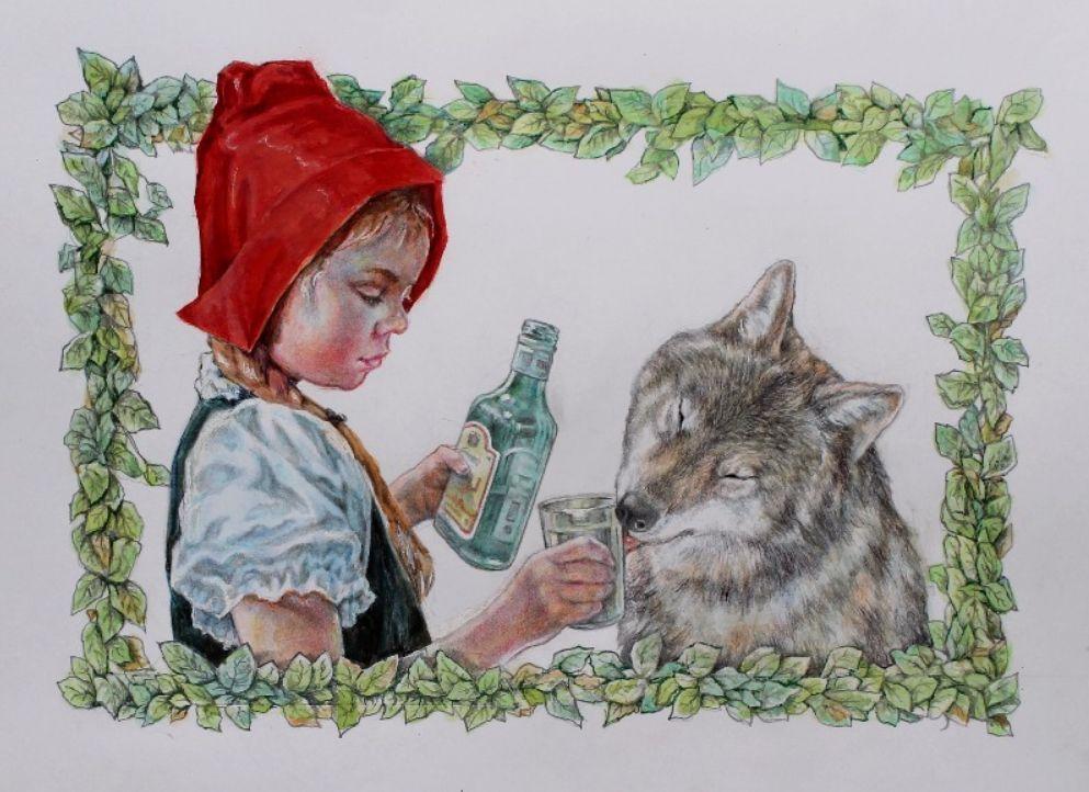 Картинки красная шапочка и серый волк прикольные картинки, открытки
