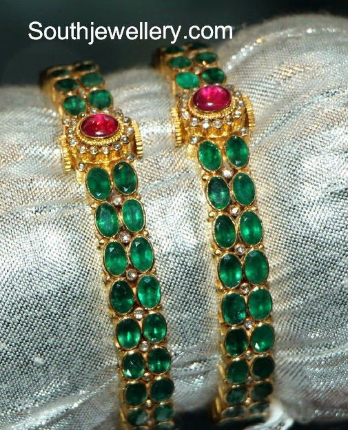 diamond bangles emerald jewellery elegant designs uncut