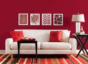 Colore pareti soggiorno moderno rosso. Molto chic