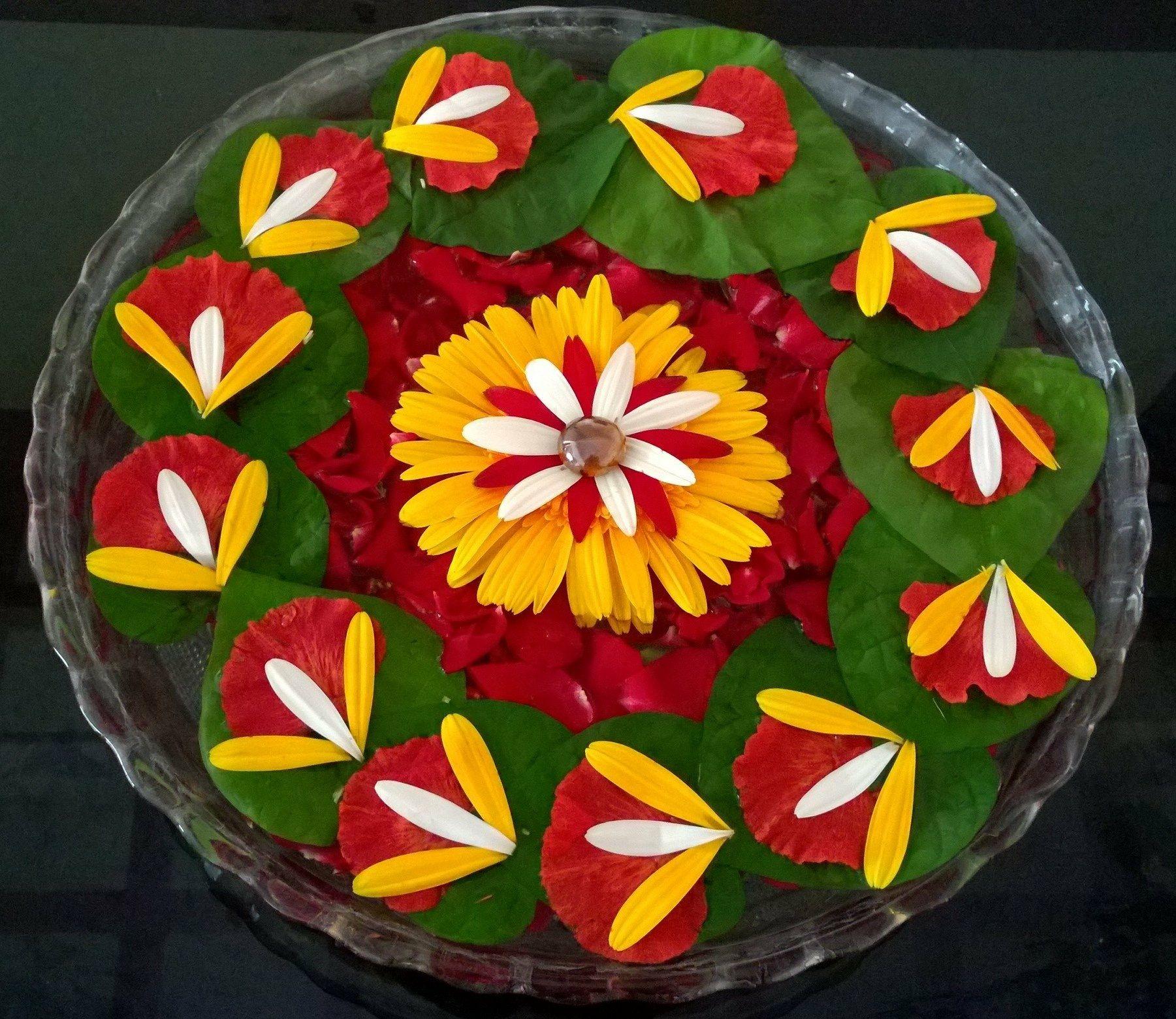 Floating flowers Thali decoration ideas, Housewarming