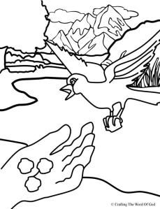 Elijah Fed By Ravens Coloring Page Sunday School Coloring Pages Bible Crafts Bible Crafts For Kids