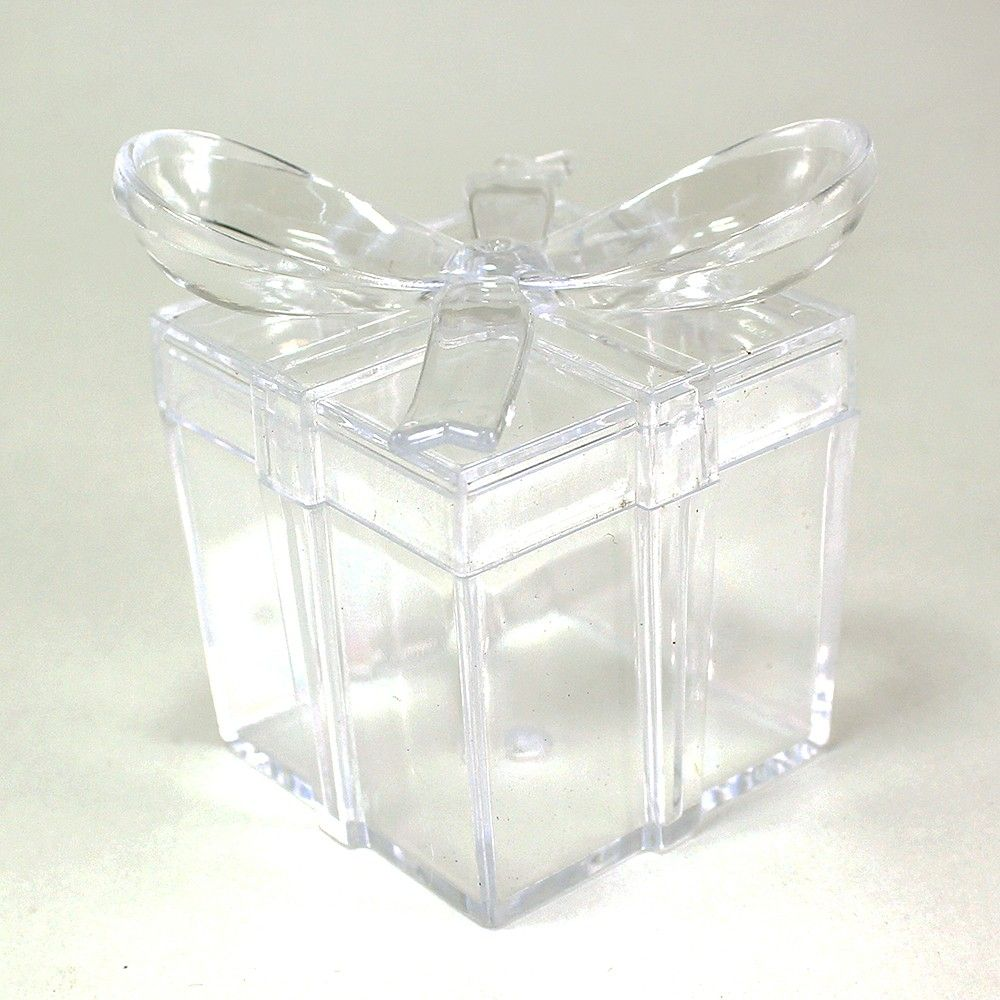 Maple Craft - Clear Square Gift Box With Bow Plastic Favor Box (pack ...