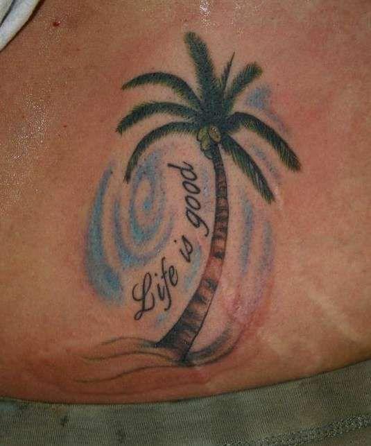 palm tree tattoos | palm tree w/lettering tattoo | Palm ...