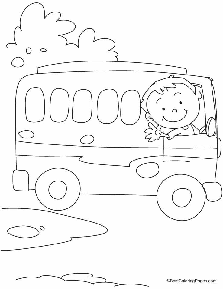 The bus driver says OK, TATA, Bye-Bye coloring pages ...