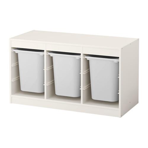 IKEA - TROFAST, Säilytyskokonaisuus+laatikot, , Tukeva ja ilmeeltään leikkisä kalustesarja lelujen säilyttämiseen, istumiseen, leikkimiseen ja rentoutumiseen.Rungossa on liukukiskot, joiden ansiosta laatikoiden ja hyllylevyjen sijoittaminen – ja vaihtaminen – on joustavaa ja helppoa.Lapselle sopiva korkeus helpottaa tavaroihin ylettymistä ja niiden järjestelyä.