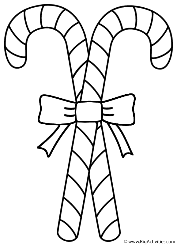 Two Candy Canes Coloring Page Christmas Candy Cane Coloring Page Coloring Pages Free Coloring Pages