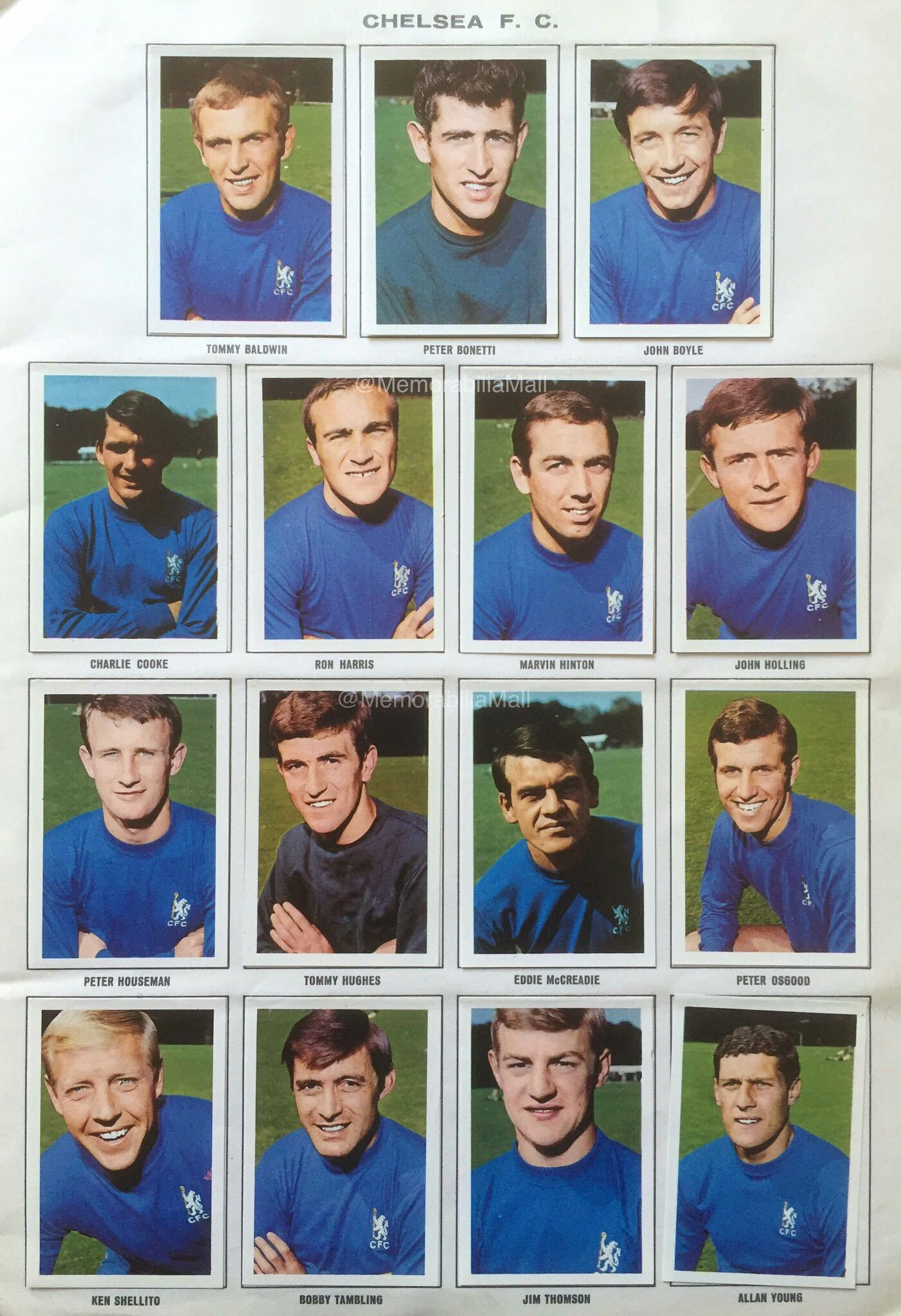 Chelsea stickers for 1967.   Chelsea team, Chelsea football club ...