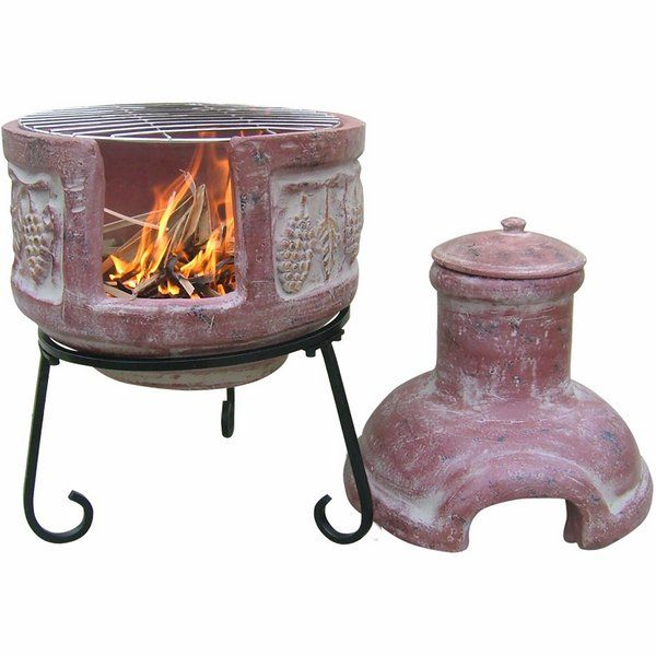 Clay Chiminea Grill Lid And Stand Small Patio Fireplace Ideas
