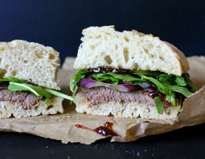 Minute steak sandwich with plum chutney