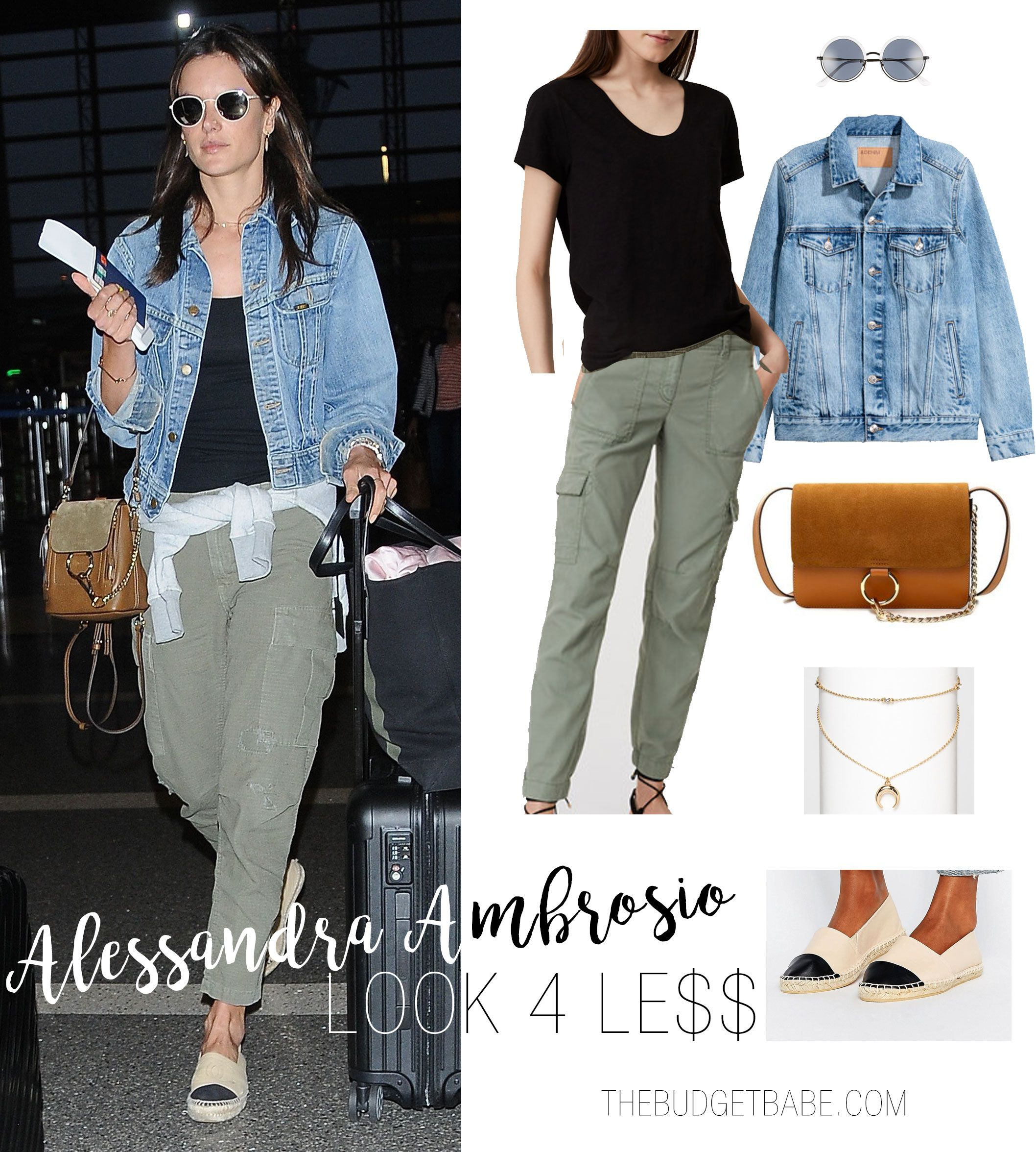 Alessandra Ambrosio S Casual Airport Style Outfit Look For Less Cargo Pants And Denim Jacket With Ca Winter Travel Outfit Travel Outfit Summer Winter Outfits