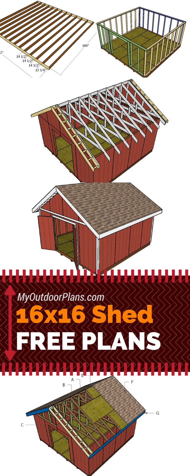 free plans for you to learn how to build a 16x16 shed with a gable