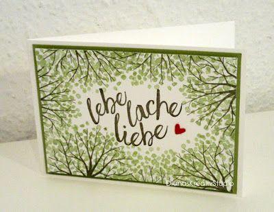 Sch nes aus papier karte lache lebe liebe im herzen baum for Bastelanleitung baum aus papier