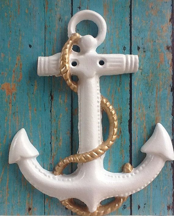 Large Anchor Wall Decor anchor wall art -white gold rope-nautical ship-large-cast iron